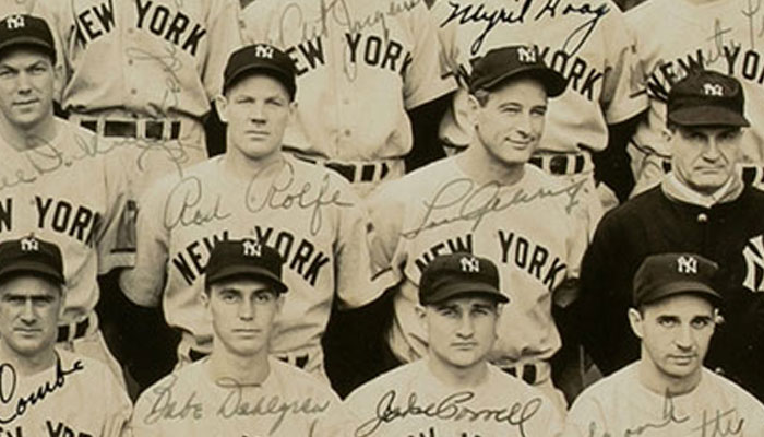 "1938 World Champion New York Yankees Large Format (19"" by 11"") Team Signed Photograph From The Johnny Murphy Estate Collection"