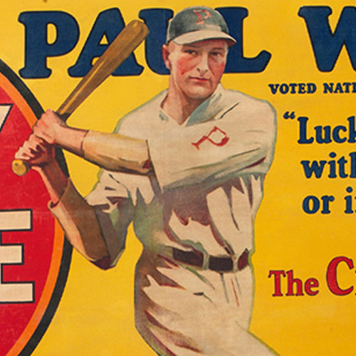 Extremely Rare 1928 Paul Waner Lucky Strike Cigarettes Large Advertising Banner